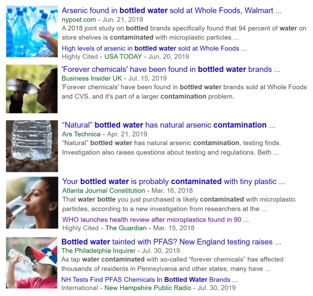 screenshots of news articles about bottled water