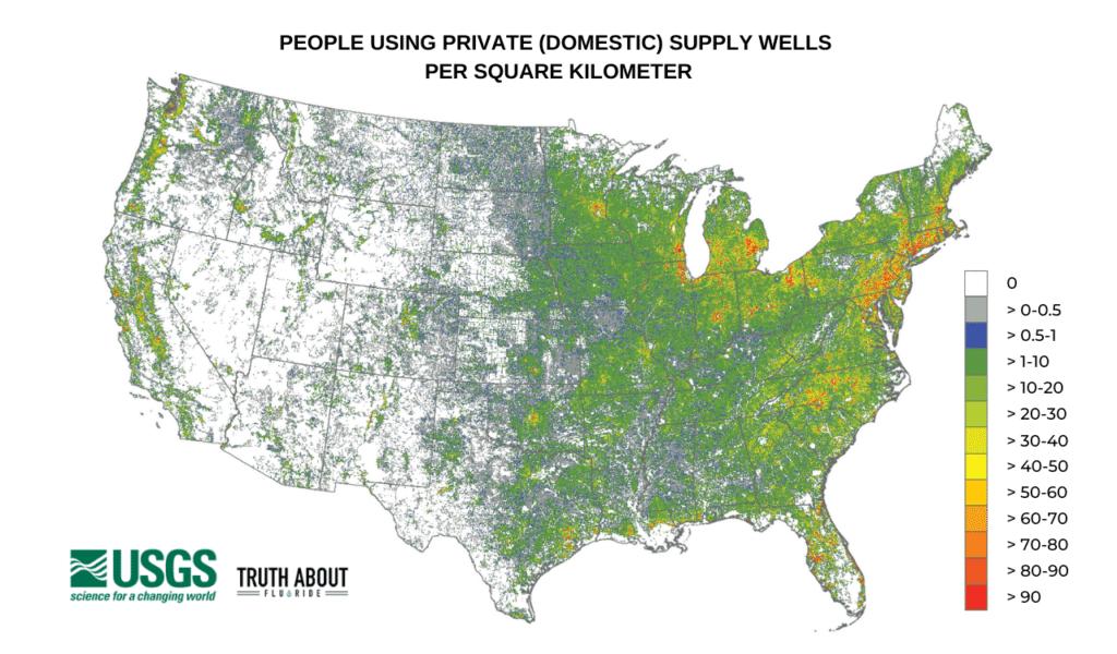 PEOPLE USING PRIVATE (DOMESTIC) SUPPLY WELLS PER SQUARE KILOMETER