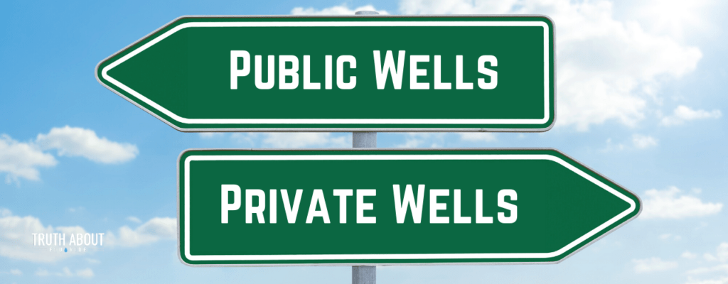 public wells, private wells sign