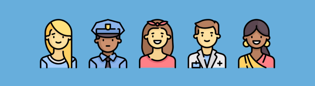 icon avatar of 5 people