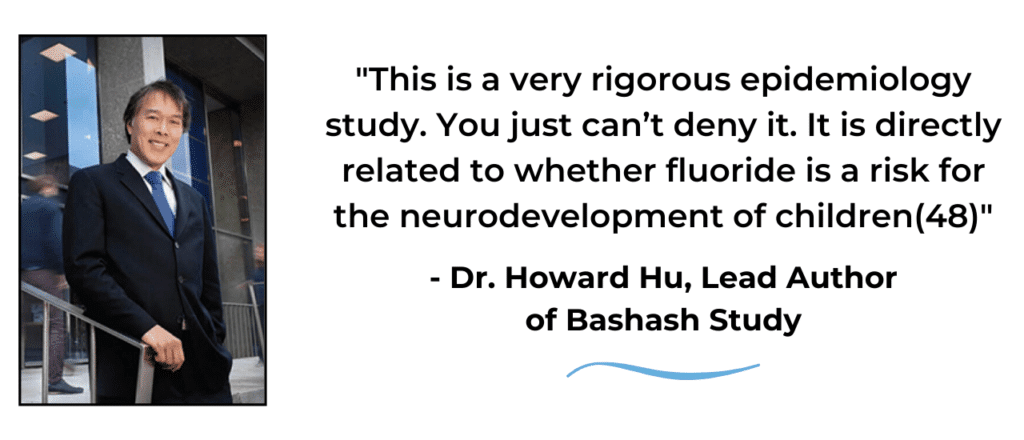 Quote about fluoride by Dr. Howard Hu