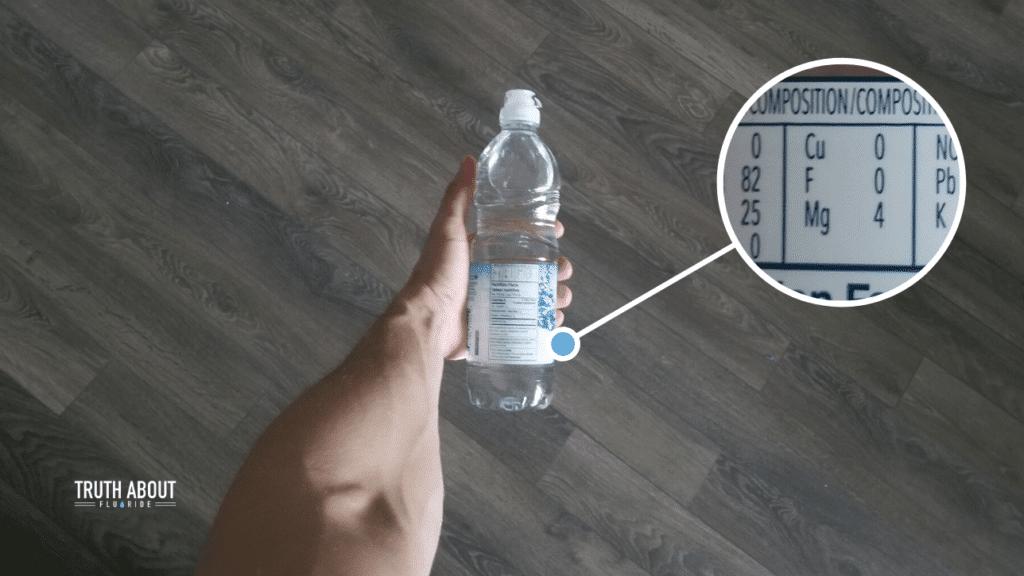 Eska water fluoride levels on label of bottle, 0 ppm