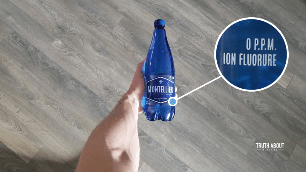 fluoride levels of Montellier water according to bottle's label, 0 ppm