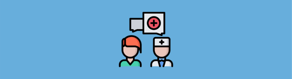 doctor with patient icon