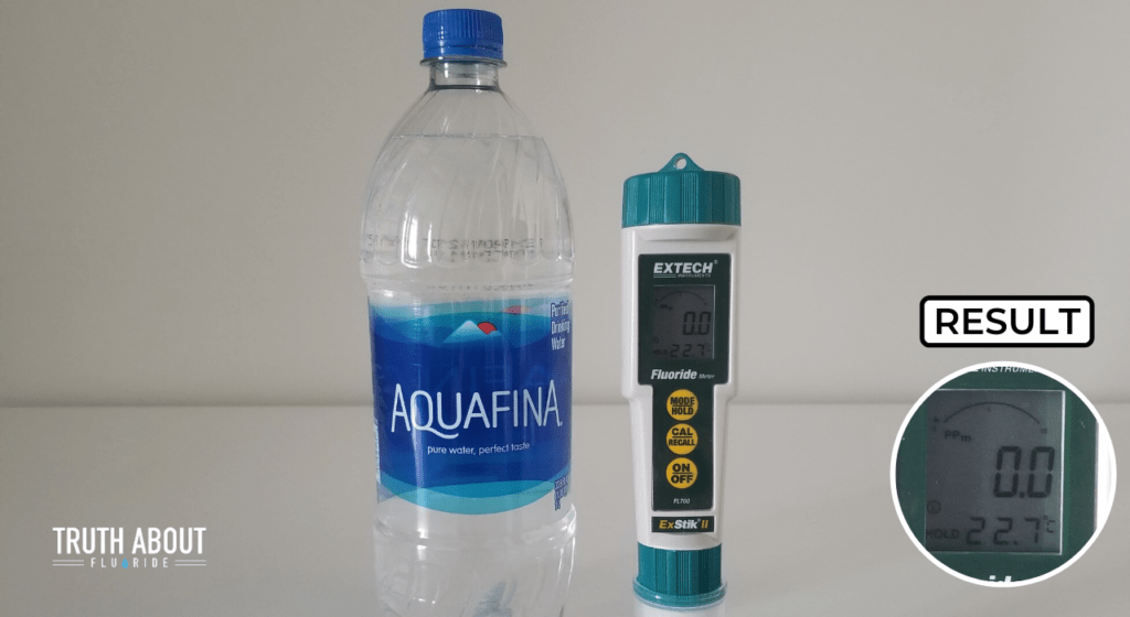 aquafina tested with a fluoride meter, 0.0 ppm result