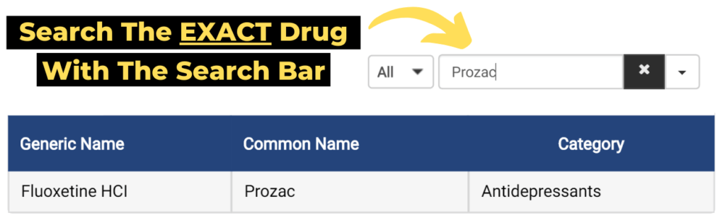 tip 1: search the exact drug with the search bar
