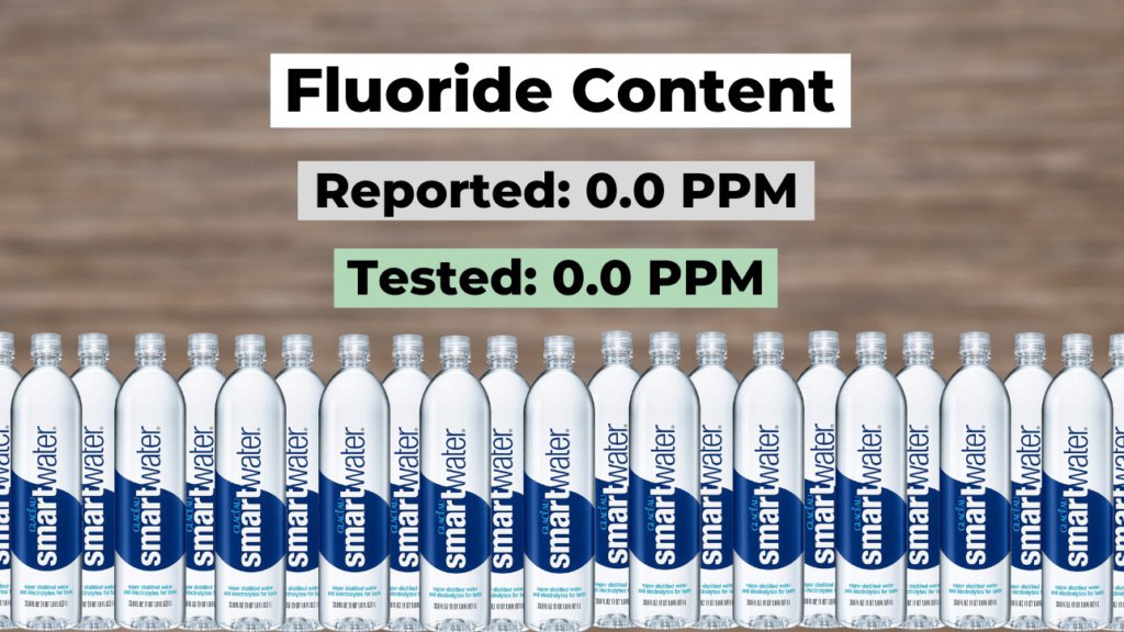 smartwater fluoride content summary, reported (0.0 ppm), tested (0.0 ppm)