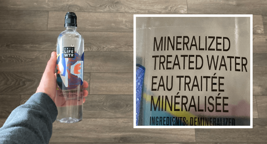 """label of arto lifewtr bottled water stating """"mineralized treated water"""""""