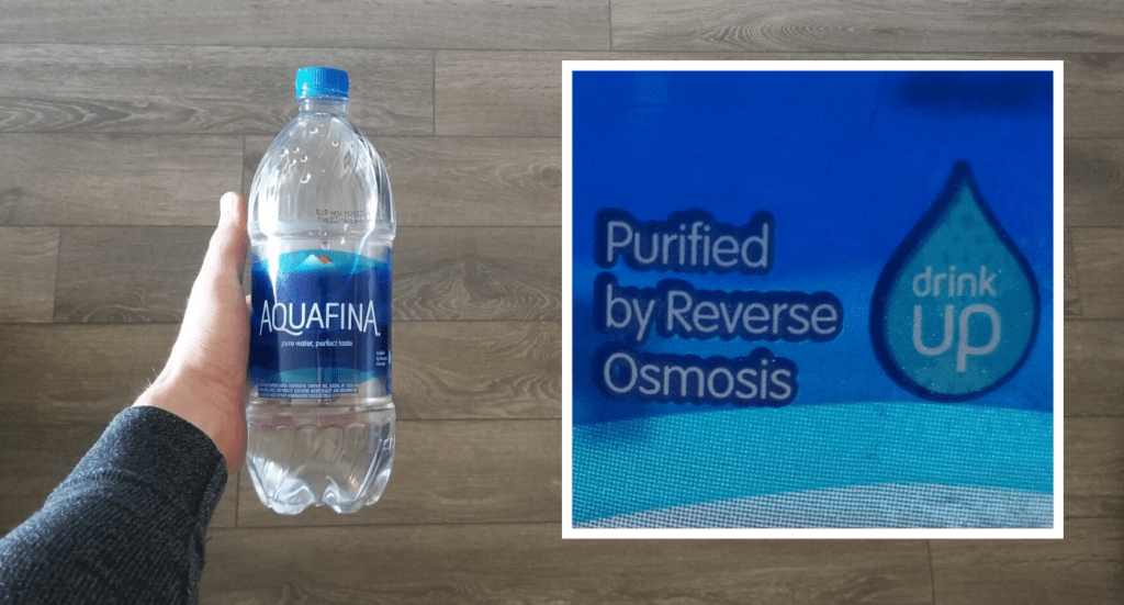 """label of Aquafina bottle water, """"purified by reverse osmosis"""""""