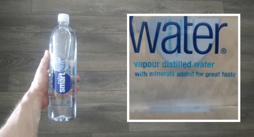 """smartwater label close-up, """"vapour distilled water"""""""