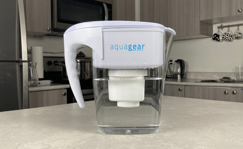 aquagear water filter pitcher on table