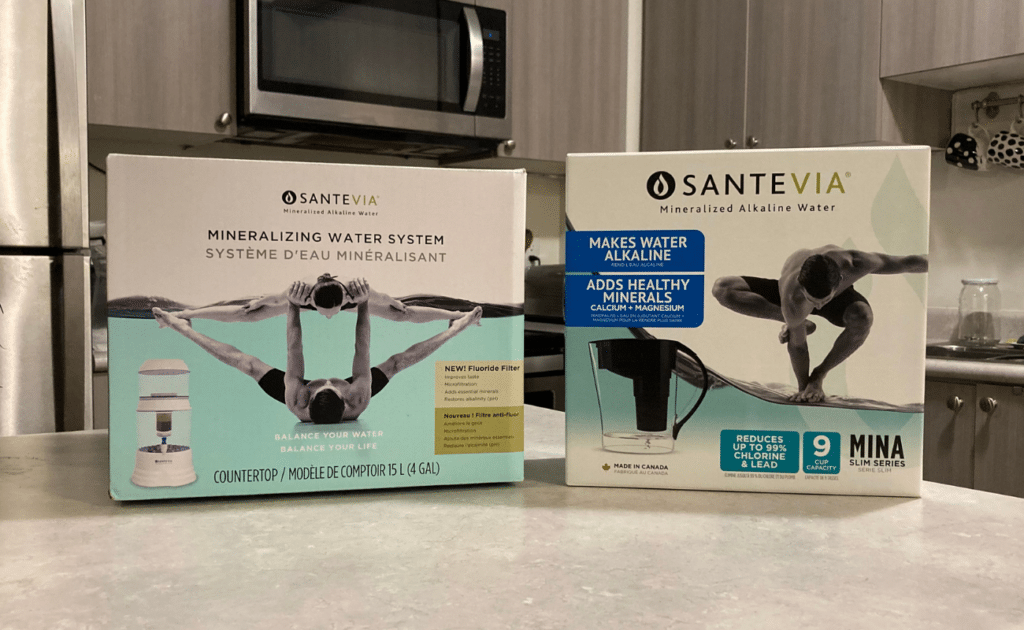 Santevia water filter pitcher and countertop filter in box