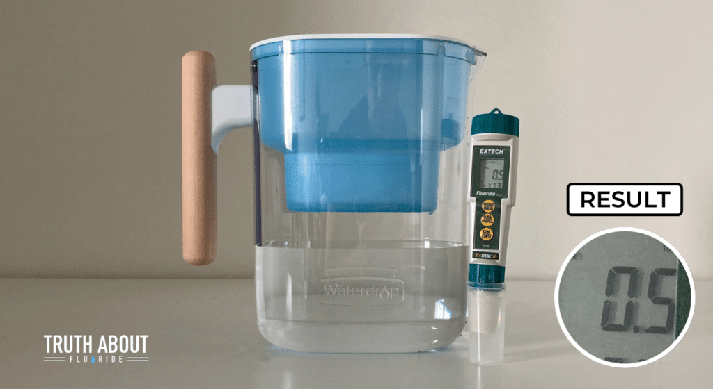 waterdrop water filter pitcher tested for fluoride, 0.5 ppm result