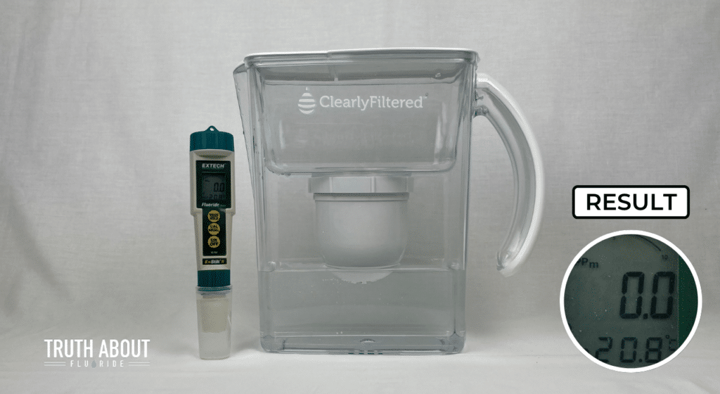 clearly filtered water pitcher tested for fluoride, 0.0 ppm result