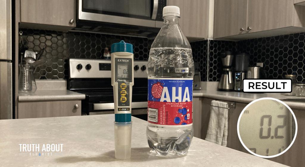 aha bottled water tested for fluoride, 0.2 ppm result
