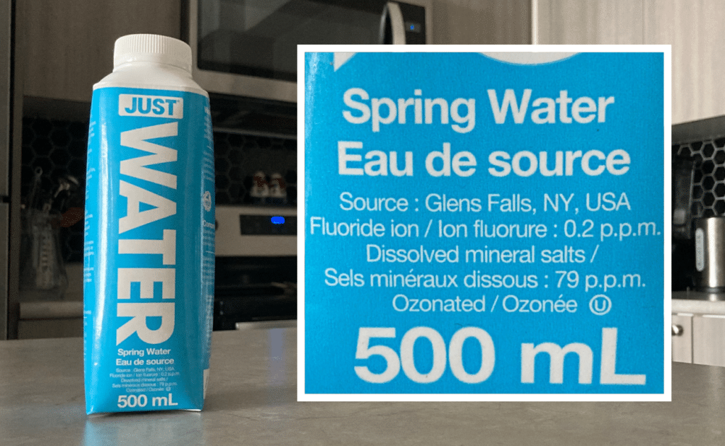 fluoride content on just water bottle