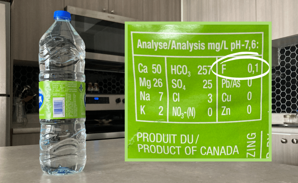 fluoride content on naya bottled water label