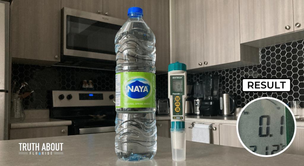 naya bottled water tested for fluoride, 0.1 ppm result