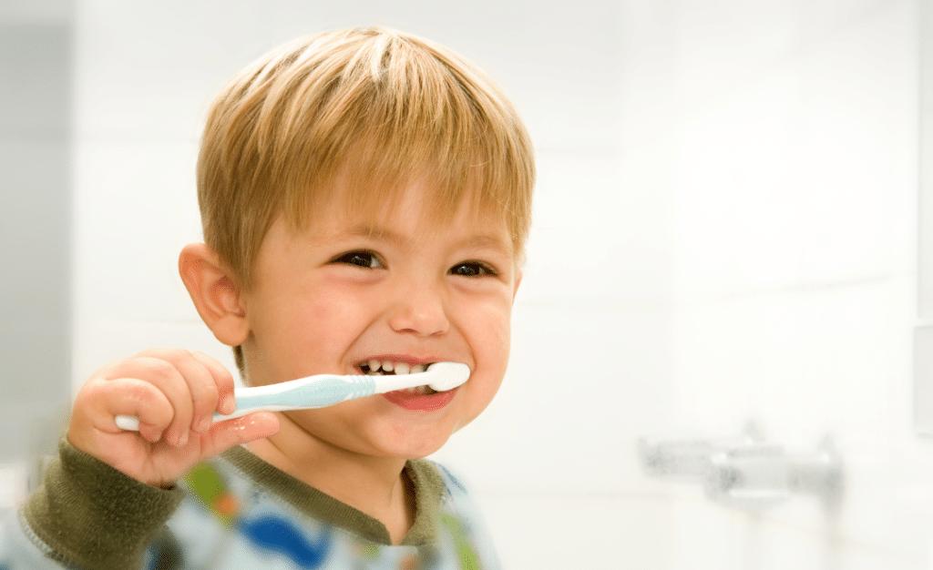child brushing their teeth