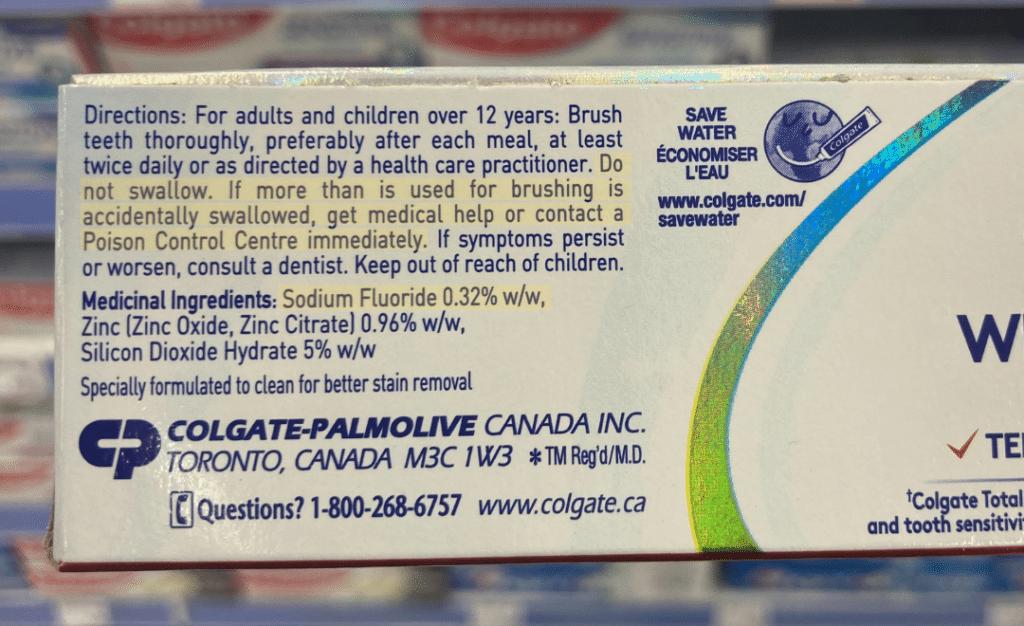 fluoride toothpaste poison warning